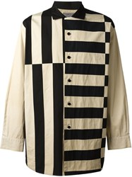 Yohji Yamamoto Vintage Oversized Striped Shirt Nude And Neutrals