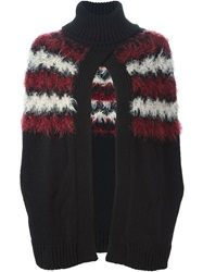 Mauro Grifoni Furry Detail Open Front Sweater Black