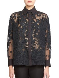 Ungaro Devore Long Sleeve Blouse Black