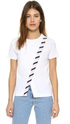 M.Patmos Crossover Tee White Stripe Trim