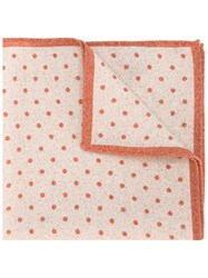 Eleventy Polka Dot Pocket Square Scarf Brown