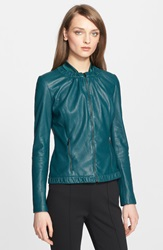 St. John Perforated Nappa Leather Jacket Dark Emerald