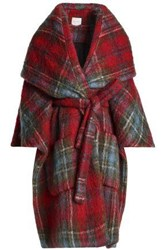 Delpozo Checked Mohair Blend Cape Red