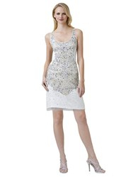 Adrianna Papell Beaded Tank Dress Ivory