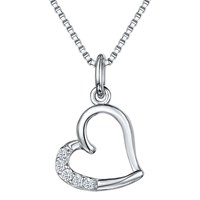 Jools By Jenny Brown Cubic Zirconia Hanging Heart Necklace Silver