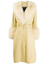 Saks Potts Faux Fur Belted Coat Yellow