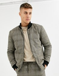 Native Youth Wicker Plaid Bomber Co Ord Brown