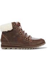 Sorel Harlow Lace Cozy Shearling And Felt Trimmed Waterproof Leather Ankle Boots Brown