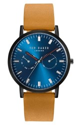 Ted Baker London Leather Strap Watch 40Mm Navy Brown