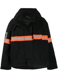 R 13 R13 Striped Padded Jacket Black