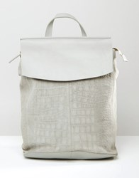 Asos Leather And Suede Croc Embossed Backpack Grey