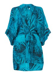 Label Lab Crinkle Palm Print Kimono Dark Green
