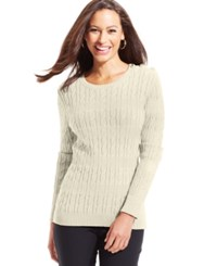 Charter Club Petite Cable Knit Crew Neck Sweater
