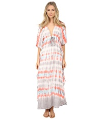 Young Fabulous And Broke Julie Dress Coral Rain Ombre Women's Dress White