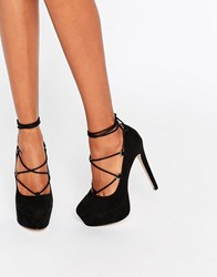 Asos Party All Night Lace Up Platforms Black