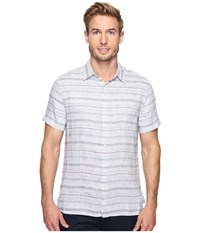 Perry Ellis Space Dyed Stripe Linen Shirt Citadel Men's Clothing Gray