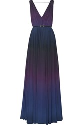 Raoul Sarina Pleated Degrade Chiffon Gown Purple