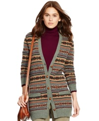 Polo Ralph Lauren Fair Isle Wool Cardigan Sage Fairisle