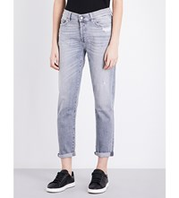 7 For All Mankind Josefina Mid Rise Boyfriend Jeans Cool Grey