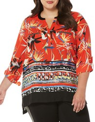 Rafaella Plus Long Sleeve Printed Georgette Blouse