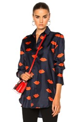 Victoria Beckham Tux Cuff Shirt In Abstract Navy Red Abstract Navy Red