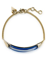 Alexis Bittar Lucite Id Curb Chain Bracelet Iridescent Cobalt Clear