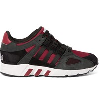 Adidas Equipment Running Guidance 93 Nubuck Leather And Mesh Sneakers Black