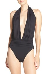 Vince Camuto Halter Plunge One Piece Swimsuit