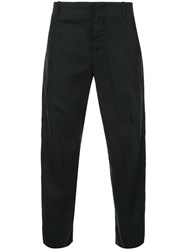 Forme D'expression Tailored Crop Curved Pants Linen Flax Black