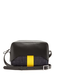 Tibi Garcon Leather And Denim Cross Body Bag Black Yellow