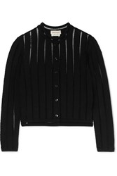 Alexander Mcqueen Cropped Knitted Cardigan Black