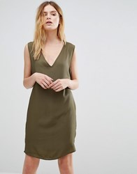 Native Youth V Neck Cocoon Slip Dress Green
