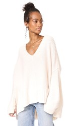 Free People Take Over Me V Neck Sweater White
