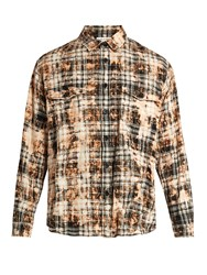 Saint Laurent Bleached Checked Stretch Cotton Shirt Brown Multi