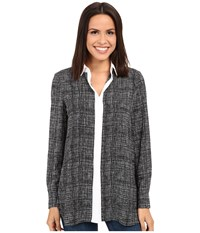 Ellen Tracy Boyfriend Shirt Papyrus Black Women's Clothing Gray