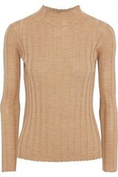 Iris And Ink Ribbed Wool Turtleneck Sweater Sand