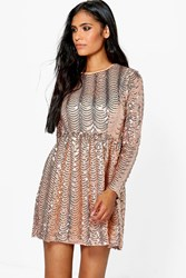 Boohoo Printed Sequin Long Skater Dress Nude