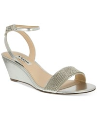 Nina Novia Evening Wedge Sandals Women's Shoes Silver