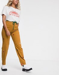 Lazy Oaf X Mr Cord Trousers With Rope Belt Brown