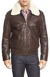 Men's Marc New York By Andrew Marc 'Carmine' Leather Bomber With Faux Fur Collar