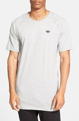Adidas 'Sport Luxe' Reptile Print Longline Crewneck T Shirt Heather Grey