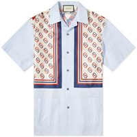 Gucci Patch Pocket Bowling Shirt Blue