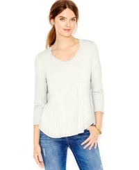 Maison Jules Long Sleeve Scoop Neck T Shirt Egret