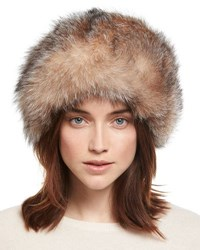 Surell Fox Fur Bubble Hat Beige