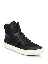 Vince Adam Leather And Suede High Top Sneakers Black