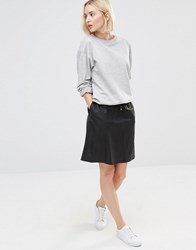 Selected Leather Skirt Black