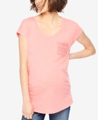 Motherhood Maternity Crochet Pocket Tee Shell Pink