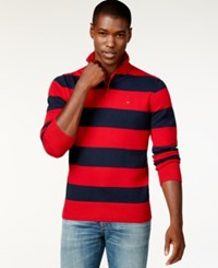 Tommy Hilfiger Rugby Striped Quarter Zip Sweater Chili Pepper