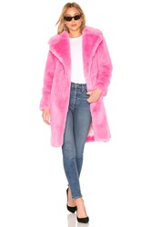Milly Riley Long Faux Fur Coat Pink