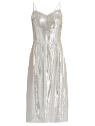 Hvn Sleeveless Lame Slip Dress Silver